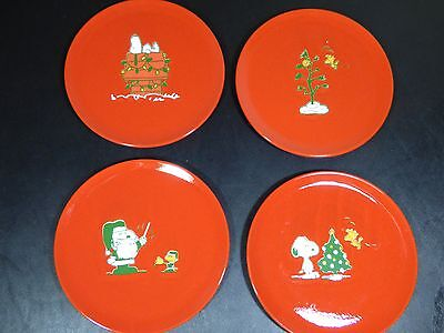 Set of 4 Waechtersbach Peanuts Snoopy Christmas Salad Plates - 50th Celebration