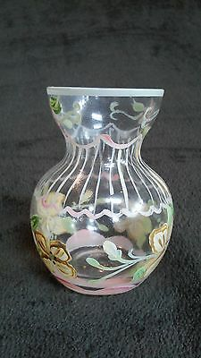 Antique Glass Small Vase Hand Painted with Floral Design