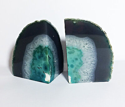 2 x Natural Agate Geode Teal Turquise Crystal Bookends Mineral Emotional Healing