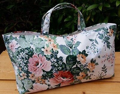 Floral Knitting or Crochet Bag with Cream Cotton Lining, Hand-Made