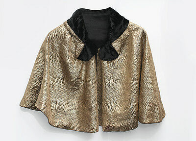 Antique French 1920's Art Deco Moiré Gold Lamé & Velvet Capelet Cape Bolero 6-12