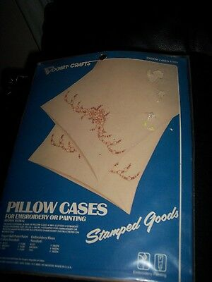 1982 Vtg. Vogart Pair of Stamped Pillow Cases Embroidery/Cross Stitch New in pkg