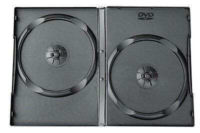 20 x Double DVD Case Cases 14mm Spine Storage Black Front Cover Sleeve 2 Way