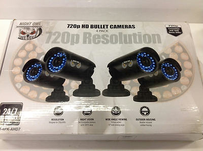 Night Owl 4-Pack 720P HD Bullet Security Cameras Analog BNC Cables CAM-4PK-AHD7