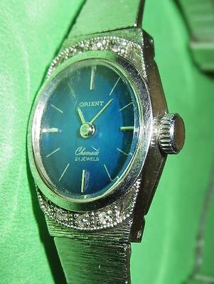 VINTAGE 70s WOMEN'S WATCH ORIENT 21 JEWELS Silver Tone w/ Blue