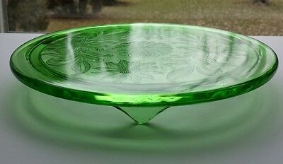 Vintage Green Depression Jeannette Glass Footed Cake Plate Stand Sunflower