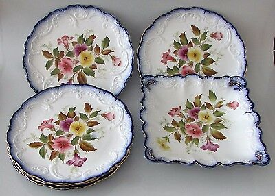 Carlton Ware by W&R Wiltshaw and Robinson 5 Plates & Square Bowl Year RD No 1898