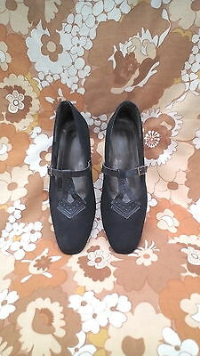 vintage 60s inspired mod scooter girl navy faux suede T bar shoes size 4