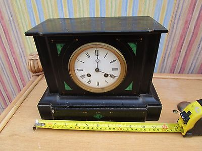 Antique French Japy Freres Black Slate Striking Clock
