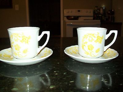 Vintage Royal Staffordshire Windsong  2 Cups And 2 Saucers J&g Meakin