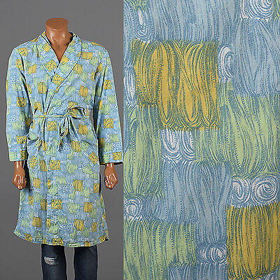 XL Vintage 1960s 60s Psychedelic Bathrobe Robe Swirling Novelty Print Loungewear