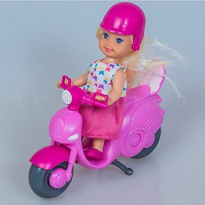 Doll with Scooter und Helmet Motor Scooter Scooter