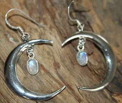 925 Sterling Silver Moon & Moonstone Earrings delicate Pagan Wicca Witch Alchemy