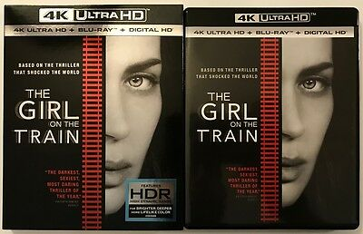 The Girl On The Train 4K Ultra Hd Blu Ray 2 Disc Set + Slipcover Free Shipping