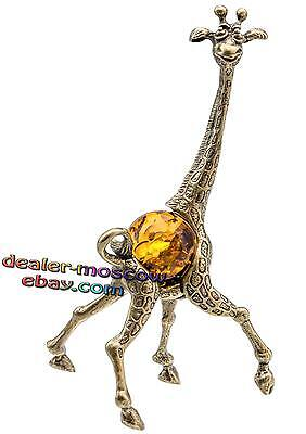 Bronze Solid Brass Baltic Amber Figurine Family of Giraffes - Father IronWork
