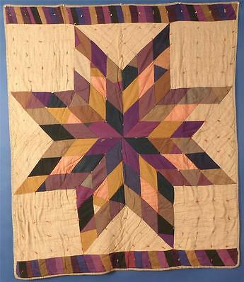 "ANTIQUE, MENNONITE MADE, ""LONE STAR"", TIED QUILT, WOOL, c.1890-1910"
