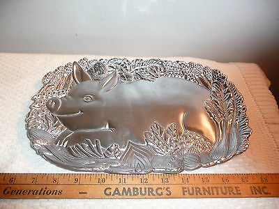 Fitz and Floyd Silver Tone Metal Pig Tray Server 12 Inch Clean Pewter Armitage