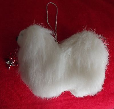 PEKINGESE white dog Part NEEDLE FELTED hanging Christmas decoration