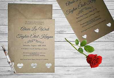 Personalised Handmade Wedding Invitation Invite x50 Vintage Kraft Brown Rustic