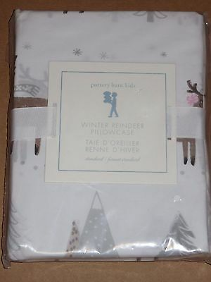 1 NWT Pottery Barn Kids Winter Whimsy Reindeer Percale Pillowcase, Standard NEW
