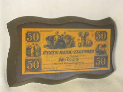 mounted STATE BANK of ILLINOIS fifty Dollars $50 vintage reproduction money