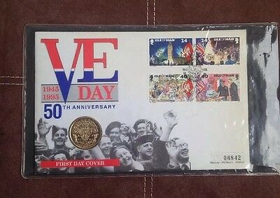 1995 VE Day - Isle of Man £2 Coin Cover & Stamps - SNo: 06842 Rare