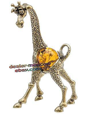Bronze Solid Brass Baltic Amber Figurine Family of Giraffes - Mother IronWork