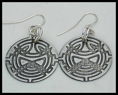 CELTIC CIRCLES - Handforged Embossed & Antiqued Pewter Earrings