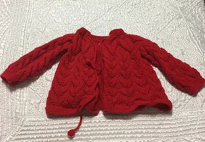 Vintage Hand Knit Red Baby Girl Boy Unisex Sweater Infant- 0 to 6  Months