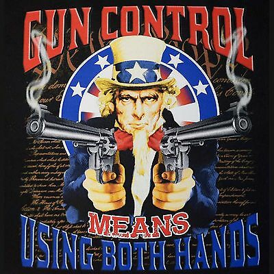 2nd Amendment Gun Control Use Both Hands Uncle Sam T Shirt Small to 6X and Tall