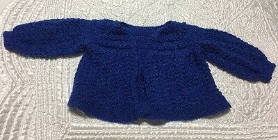 Vintage Hand Knit Blue Baby Girl Boy Unisex Sweater Infant- 0 to 6  Months