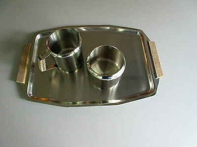 Vtg 1970s : Modern Scandinavian Stainless Steel Tray Set w Creamer & Sugar Bowl