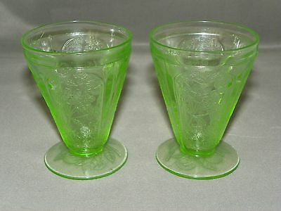 Green Cherry Blossom Jeannette Depression Glass 1930-1939 FOOTED JUICE GLASS/2