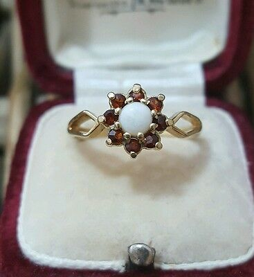 Vintage Solid Silver Cluster Ring, Gold Plated, White Opal & Garnet,size M