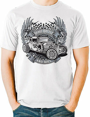 5fcd1f25f Hot Rod T Shirt Vintage Drag Race Rat Rod Skull Flames Small to 6XL and Tall