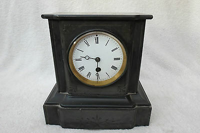 Antique Victorian Black Slate French Mantel Clock For Light Tlc