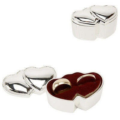 New wedding silver plated double hearts ring bearer box cushion
