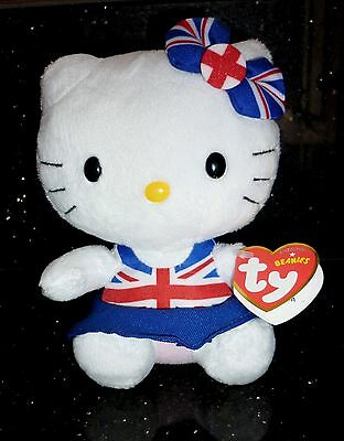 Ty BEANIE BABIES HELLO KITTY Union Jack Dress UK Exclusive NEW! Beanies Babies