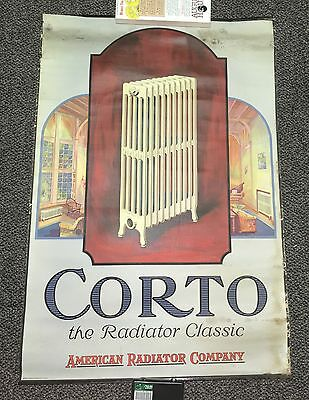 Antique 1924 Corto American Radiator Graphic Color Linen Paper Hanging Sign