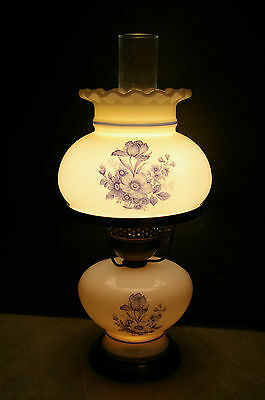 "Vintage 17.5"" Tall 'gone With The Wind' Style Milk Glass Electric Hurricane Lamp"