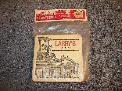 Personalized Beverage Coasters Larry's  Bar Made In Usa