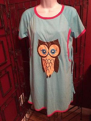 Maternity Breast Feeding Nursing Night Gown Owl Size Med By Cainanqi
