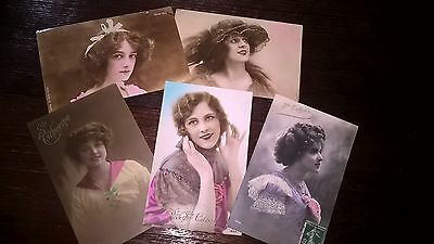 5 Vintage French Postcards 1900's Mademoiselle  portrait