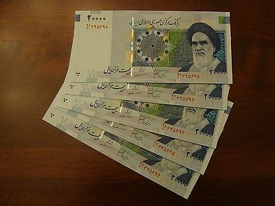 Iran 100000 Rials Uncirculated In Lot Of 5 20000 Banknotes