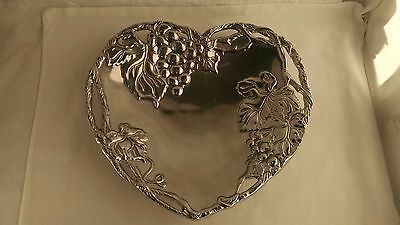 Arthur Court Heart Shaped Tray Grape Pattern Aluminum Hollowware