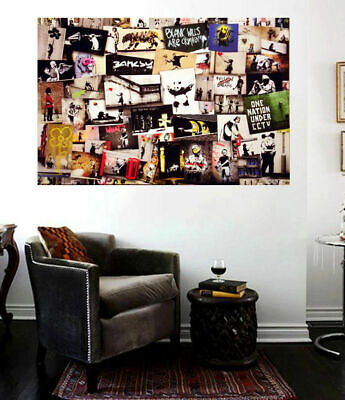 Banksy Grafitti Street Art Vol 5 Collage Huge 24 x 18 Canvas Print Collage NYC