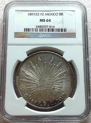 1897 Zs FZ Mexico Cap & Rays 8 Reales NGC MS64 High Grade Nice Toning Attractive