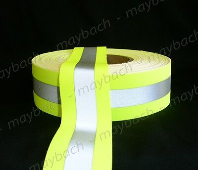 "2"" Reflective Tape Sew-On lime yellow green, fabric vest trim ribbon"
