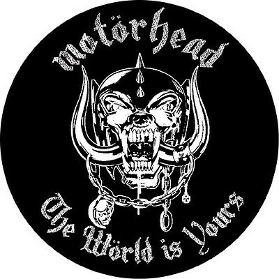 Motorhead circular vinyl sticker 90mm Lemmy metal The World Is Yours