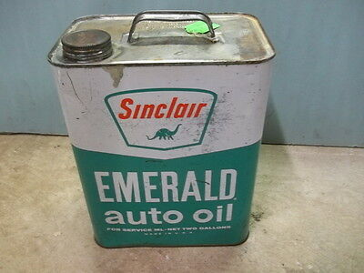 Original Sinclair, Dino, 2 Gallon Motor Oil Can, Metal Can, Emerald Auto Oil,